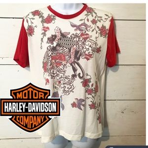 Harley Davidson Tattoo Rhinestone T-shirt  XL